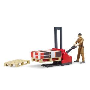 車 おもちゃ BRUDER ブルーダー b-world UPS物流作業員セット リフト機材付き 62210|morinokobito|05