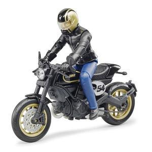 車 おもちゃ BRUDER ブルーダー Ducati スクランブラーカフェレーサー(フィギュア付き)63050|morinokobito