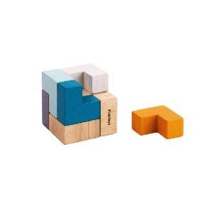 木 おもちゃ 積み木 Plantoys プラントイ 3Dパズルキューブ ・ミニ缶入り 4134|morinokobito