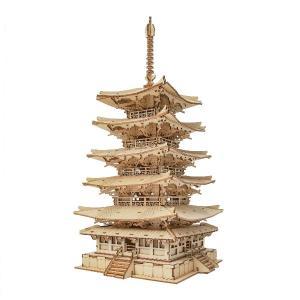 DIY つくるんです! つくろう!3Dウッドパズル 五重塔 TGN02【日本語説明書付き】|morinokobito