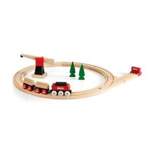 木のおもちゃ 汽車レール BRIO クラシックレール 貨物輸送セット 33010|morinokobito