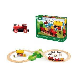 ギフト 乗り物おもちゃ 木のおもちゃ 木製レールセット BRIO ブリオ バッテリーパワー機関車ファームレールセット 33043|morinokobito