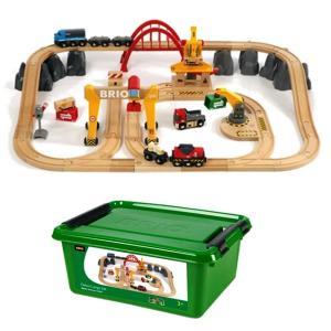 木のおもちゃ 汽車レール BRIO(ブリオ)レール カーゴレールデラックスセット 33097|morinokobito