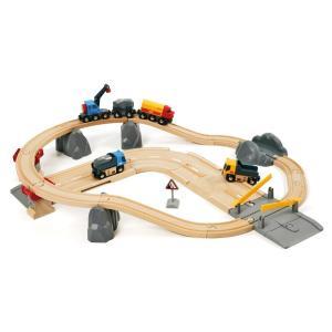 木のおもちゃ 汽車レール BRIO(ブリオ)レール&ロード 採石セット 33210|morinokobito