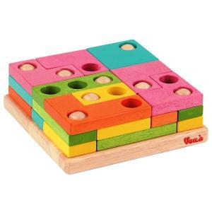 木のおもちゃ 積木 知育玩具 立体3層パズル Voila(ボイラ)ボイラパズル2 S329A|morinokobito