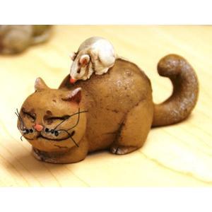 ネコの背中に乗ったねずみ FS-17:森の音シリーズ|morinokobito