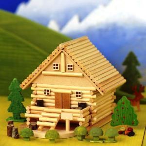 アイスタジオ・ウッズ 山荘ものがたり A81 メルヘンログ ログハウス貯金箱 木工工作キット|morinokobito
