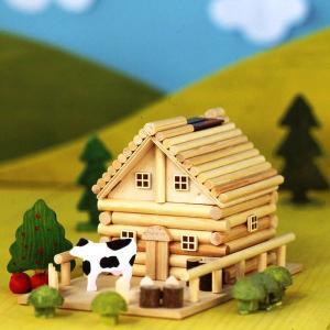アイスタジオ・ウッズ 田舎ものがたり A82 メルヘンログハウス 貯金箱 木工工作キット|morinokobito