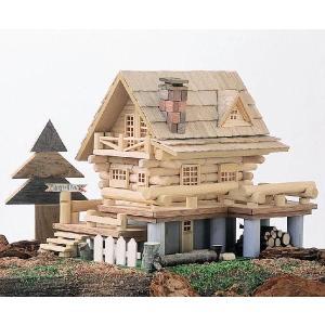 アイスタジオ・ウッズ デッキのあるログハウス A20 ログハウス貯金箱 木工工作キット|morinokobito