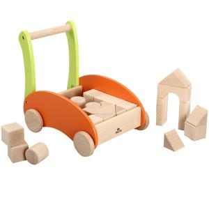 木のおもちゃ  積木 手押し車 プレイミートイズ レインボーブロックスカー H0602|morinokobito