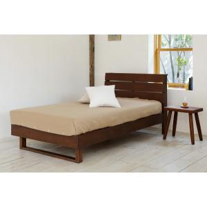 今なら送料無料、シンプルなデザインの木目がきれいなウォールナット材のシングルベッド!  木目のきれい...