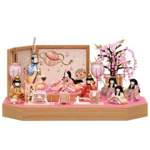 雛人形 一秀 コンパクト 木目込み 七人飾り しだれ桜 K-1