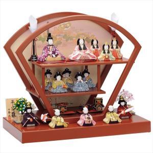 雛人形 一秀 コンパクト 木目込み 三段飾り 十五人飾り D-7