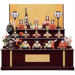 雛人形 一秀 コンパクト 木目込み 木製三段飾り 十五人飾り D-17