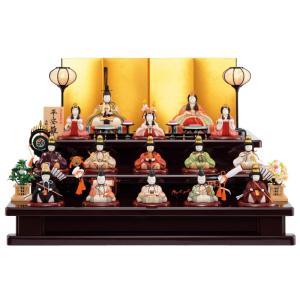 雛人形 一秀 コンパクト 木目込み 木製三段飾り 十五人飾り D-25