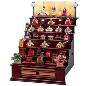 雛人形 一秀 コンパクト 木目込み 木製七段飾り 十五人飾り D-65