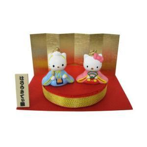 雛人形 ハローキティ 丸台雛 ミニひな人形  キャラクターひなにんぎょう 吉徳の画像