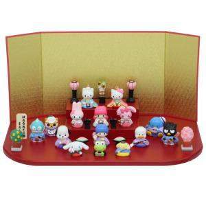 ハローキティ 雛人形 サンリオ 15人飾り 段飾り ミニひな人形 コンパクト キャラクターひなにんぎょう 吉徳の画像