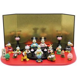 雛人形 ディズニー 15人飾り アイコン台 段飾り ミニひな人形 キャラクターひなにんぎょう 吉徳の画像