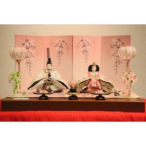 雛人形 三五本刺繍舞親王しだれ桜刺繍屏風セット 【雛人形親王飾り】 morisige