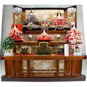 雛人形 120歓喜雛本金正絹5人(茶塗り桐3段飾り) morisige