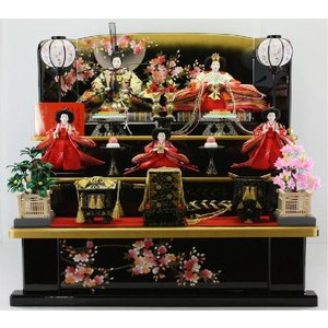 雛人形 80歓喜雛(木製黒塗り5人3段飾り) morisige