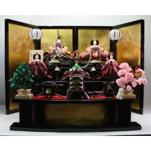127平安天鳳作京八番有職雛黒塗り三段飾り morisige
