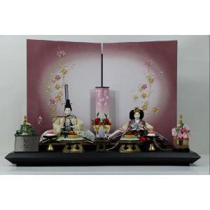 雛人形 京三五正絹縫取り縮緬ひな人形桜刺繍紫ボカシ屏風平飾り|morisige