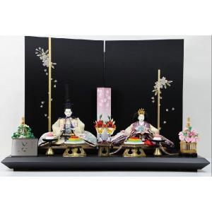 雛人形 京三五正絹縫取り縮緬ひな人形手書き桜黒シルキー屏風平飾り|morisige