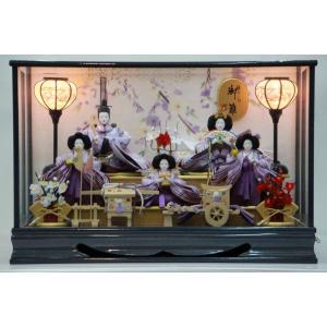 雅なこころ 御雛 ガラスケース雛飾り五人 【雛人形ケース飾り】 morisige