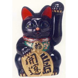 15号開運手長招き猫黒(座布団付)|morisige