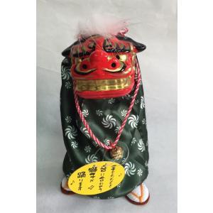 お正月用小物飾り 踊る獅子舞 P-1600-SSGR  お正月飾り 日本のお土産品  グリーン又はゴ...