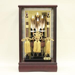 破魔弓 ケース飾り 籐巻木製弓 花梨かぶせケース 面取ガラス 花梨風雅 8号|morisige
