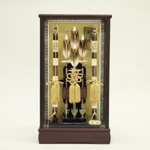 破魔弓 ケース飾り 籐巻木製弓 花梨かぶせケース 面取ガラス 花梨風雅 10号|morisige