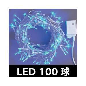 ストレート銀コード青100球LEDコントローラー付...