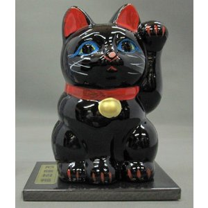 3号招き福猫黒(厄除招福) 黒板付|morisige