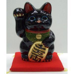 5号招き猫小判黒(座布団付)|morisige