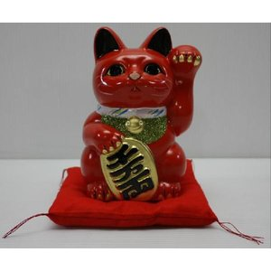 8号招き猫小判赤左手(座布団付)|morisige