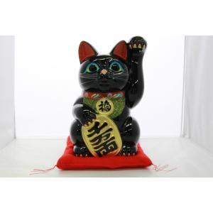 8号招き猫小判黒手長(座布団付)|morisige