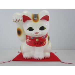 8号招き猫おじぎ招き福猫白(右手)(座布団付)|morisige