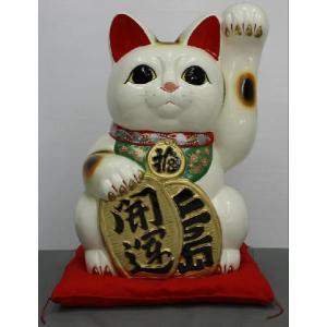 13号開運手長招き猫白(左手)(座布団付)|morisige