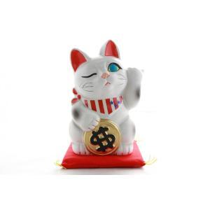4号招き猫ドル猫白左手(座布団付)|morisige