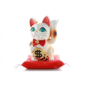 6号招き猫ドル猫白左手(座布団付)|morisige