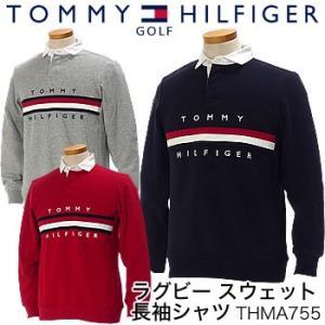 トミーヒルフィガーゴルフ TOMMY HILFIGER GOLF ラグビー スウェット長袖シャツ THMA755 2017年秋冬モデル|morita-golf