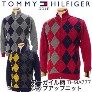 トミーヒルフィガーゴルフ TOMMY HILFIGER GOLF アーガイル柄 ジップアップニット THMA777 2017年秋冬モデル|morita-golf