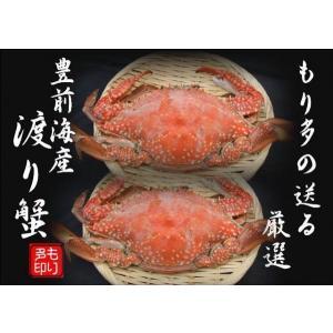 ワタリガニ 豊前海産 (渡り蟹)メス塩ゆで冷凍2尾(活き状態1尾300g〜399g)|morita