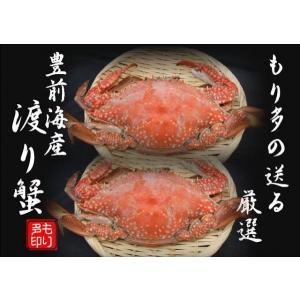 豊前海産 渡り蟹(ワタリガニ)メス塩ゆで冷凍2尾(活き状態1尾400g〜499g)|morita