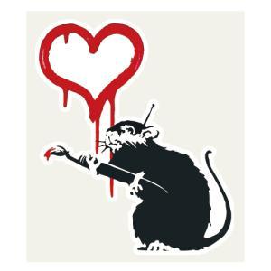 ラブラット ステッカー 38×45ミリ シール Love Rat Banksy バンクシー スマホス...