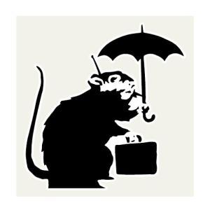 ラット&アンブレラ ネズミ傘 ステッカー 113×117ミリ シール Banksy バンクシー 車用...