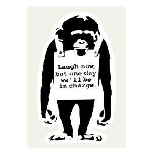 猿 Laugh Now ステッカー 73×122ミリ シール Banksy バンクシー 車用ステッカ...